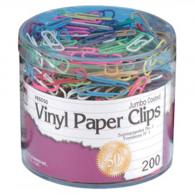 Vinyl Coated Paper Clips, Jumbo Size, Assorted Colors, 200/Box