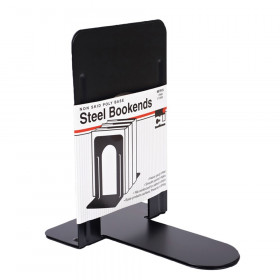 Bookends with Non-Skid Base, 9 Inch Steel, Black, 1 Pair