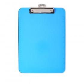 Clipboard - Plastic/Transp. W/Low Profile Clip - Letter - Neon Blue