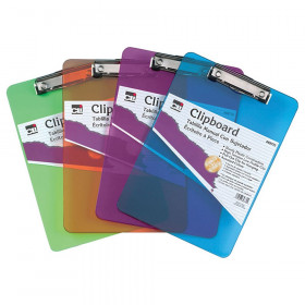 Transparent Plastic Clipboard, Low Profile Clip and Pull Out Hook, Letter Size, Assorted Neon Colors