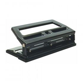 3 Hole Heavy Duty Paper Punch, 40 Sheet Capacity, Adjustable, Black