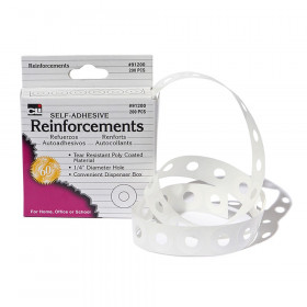 Paper Hole Reinforcements, Self-Adhesive, 1/4 Inch Holes Reinforcements in Dispenser Box, White, 200/Box