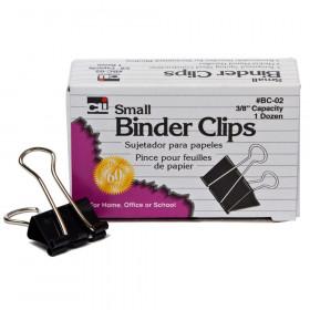 "Binder Clips, Small, 3/8"" Capacity, Box of 12"