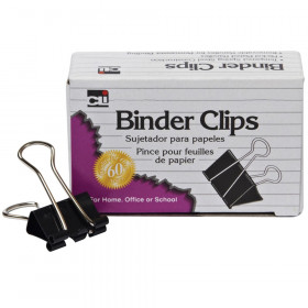 Binder Clips, Large, 1 Inch Capacity, Black/Silver, 12/Box