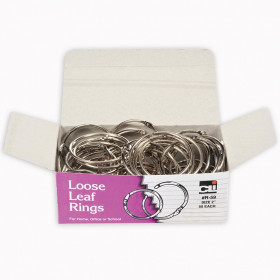 Loose Leaf Rings with Snap Closure, Nickel Plated, 2 Inch Diameter, 50/Box