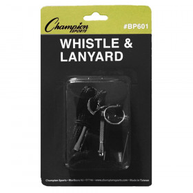 Plastic Whistle & Black Lanyard Pack