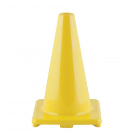 "Hi-Visibility Flexible Vinyl Cone, weighted, 12"", Yellow"