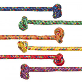 Braided Nylon Jump Rope, Assorted Colors, 8' Length, Pack of 6