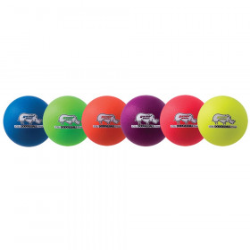Rhino Skin 6-Inch Low Bounce Dodgeball Set, Assorted Neon Colors, Set of 6