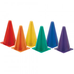 High Visibility Plastic Cone Set, Assorted Fluorescent Colors, Set of 6