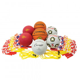Physical Education Kit with 7 Balls & 14 Jump Ropes, Assorted Colors