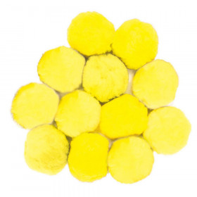 Pom Pons, Yellow, 90mm, 12 Pieces