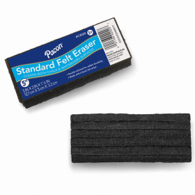 """Chalk & Whiteboard Eraser, Standard, 6 Black Felt Strips, Double-Stitched, 5"""", 1 Eraser"""