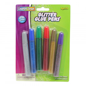 Glitter Glue Pens, 6 Colors Assorted Bright Hues, 0.34 fl. oz., 6 Pens