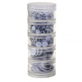 Wiggle Eyes Storage Stacker, Black, Round & Oval Shapes, Assorted Sizes, 560 Pieces
