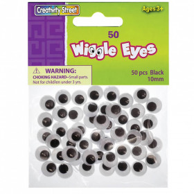 Wiggle Eyes, Black, 10 mm, 50 Pieces