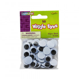 Wiggle Eyes, Black, 15 mm, 50 Pieces