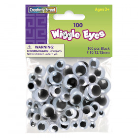 Wiggle Eyes, Black, Assorted Sizes, 100 Pieces
