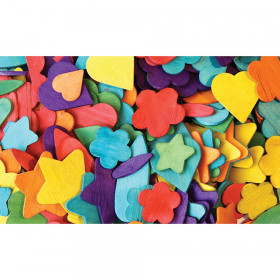"Wood Party Shapes, Assorted Colors, 1/2"" to 2"", 200 Pieces"