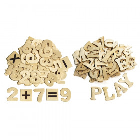 """Letters and Numbers, Natural Wood, 1.5"""", 200 Pieces"""