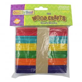 "Regular Craft Sticks, Bright Hues Assorted, 4 1/2"" x 3/8"" x 2mm, 150 Pieces"