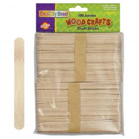 """Jumbo Craft Sticks, Natural, 6"""" x .75"""", 100 Pieces"""