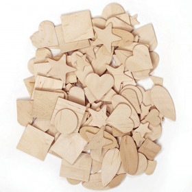 "Wood Shapes, Natural Colored, Assorted Shapes, 0.5"" to 2"", 1000 Pieces"