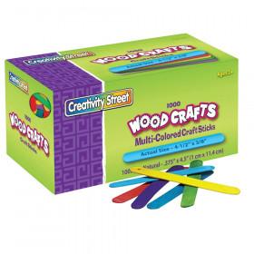 "Regular Craft Sticks, Bright Hues Assorted, 4-1/2"" x 3/8"", 1000 Pieces"