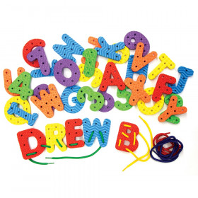"""Lacing Letters & Numbers, Assorted Colors, 2-3/4"""", 36 Pieces"""