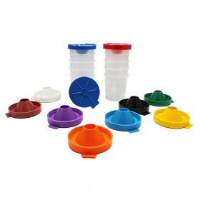 "No-Spill Round Paint Cups with Colored Lids, 3"" Dia., 10 Cups"