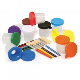 "Paint Cups with Brushes, 10 Assorted Colors, 7-1/4"" Brushes & 3"" Dia. Cups, 20 Pieces"