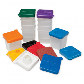 "No-Spill Square Paint Cups with Colored Lids, 3"" Dia., 10 Cups"