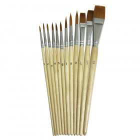 Watercolor Brush Assortment, Natural Wood, Assorted Sizes, 12 Brushes