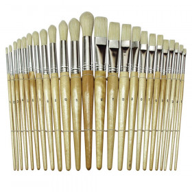 "Beginner Paint Brushes, Preschool Brush Set, 6"" to 8"" long, 24 Brushes"