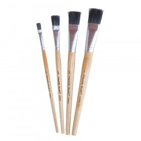 "Easel Brushes, Short Handle, Assorted, 7-1/2"" to 9"" Long, 4 Brushes"