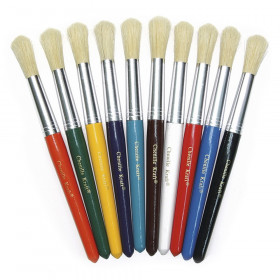 "Beginner Paint Brushes, Round Stubby Brushes, 10 Assorted Colors, 7.5"" Long, 10 Brushes"