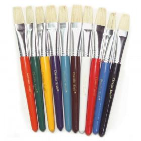 "Beginner Paint Brushes, Flat Stubby Brushes, 10 Assorted Colors, 7.5"" Long, 10 Brushes"
