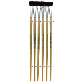 "Easel Brushes, Long Handle, Long Handle, 0.5"" Flat, 12"" Long, 6 Brushes"