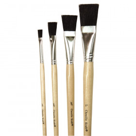 """Easel Brushes, Long Handle, Long Handle, Assorted, 11.5"""" to 13"""" Long, 4 Brushes"""