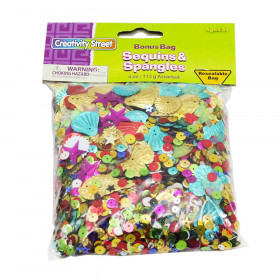 Sequins & Spangles, Assorted Colors, Assorted Sizes, 4 oz.
