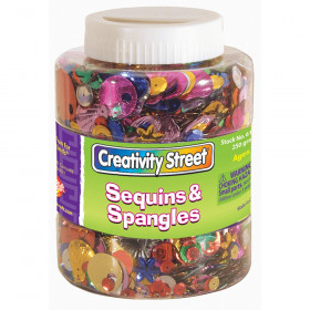 Sequins & Spangles Jar, Assorted Colors & Sizes, 230 grams