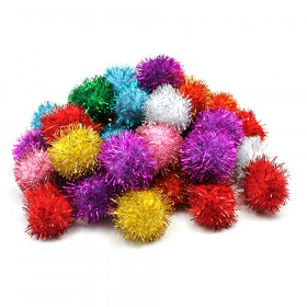 "Glitter Pom Pons, Assorted Colors, 1"", 40 Pieces"