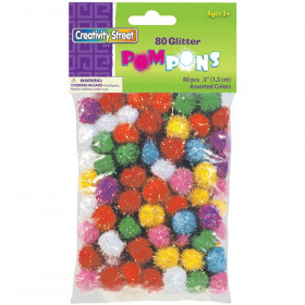 "Glitter Pom Pons, Assorted Colors, 1/2"", 80 Pieces"