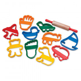 "Jumbo Dough & Clay Cutter Set with Rolling Pin, Assorted Shapes, Approx. 4"", 11 Pieces"