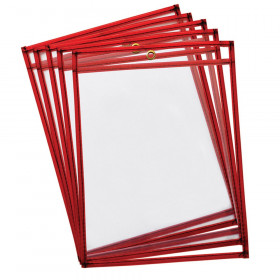 "Dry Erase Pockets, Fluorescent Red, 9"" x 12"", 10 Pockets"