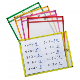 "Dry Erase Pockets, 5 Assorted Neon Colors, 9"" x 12"", 10 Pockets"