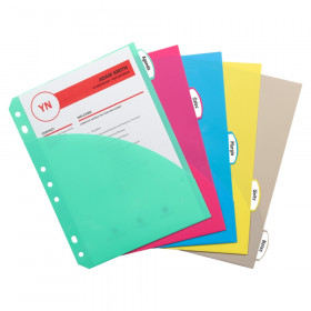 Mini-Size 5-Tab Poly Index Dividers with Pockets, 5/PK