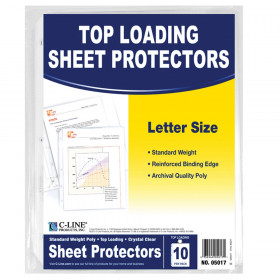 C-Line Crystal Clear Standard Weight Sheet Protectors, 10/pkg