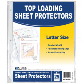 C Line Crystal Clear 25Pk Standard Weight Sheet Protectors