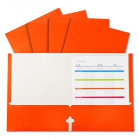 2-Pocket Laminated Paper Portfolios with 3-Hole Punch, Orange, Box of 25